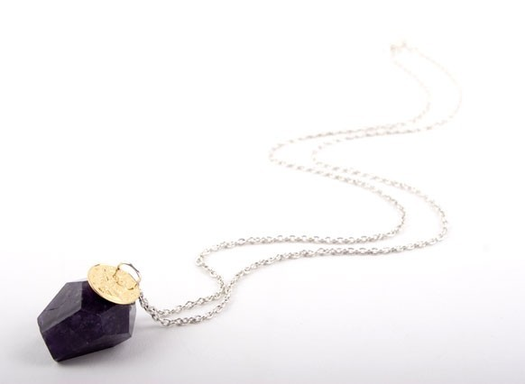 Amethyst Nugget and Gold Coin Necklace