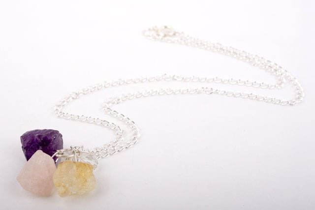 Amethyst Rose Quartz and Citrine Necklace