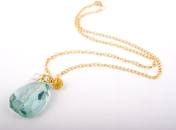 Faceted Aqua Quartz Crystal Necklace