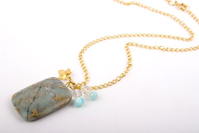 Aqua Jasper  and Jade Necklace