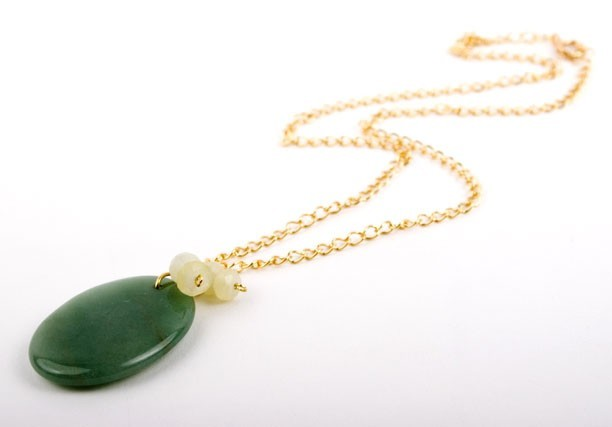Aventurine and Jade Pendant Necklace