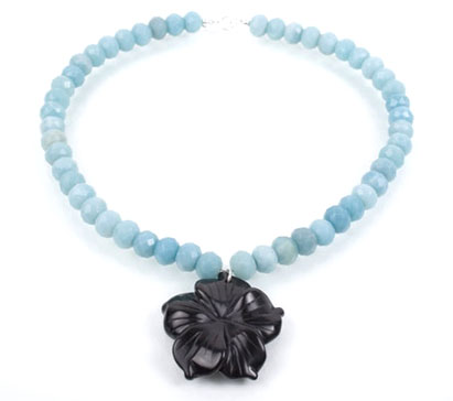 Amazonite and Carved Oynx Flower Necklace