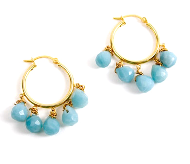 Gold Vermeil Amazonite Drop Hoop Earrings