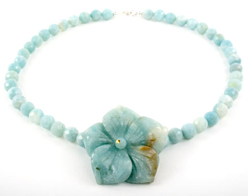 Faceted Amazonite Flower Necklace