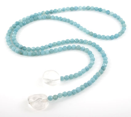 Amazonite and Crystal Lariat Necklace