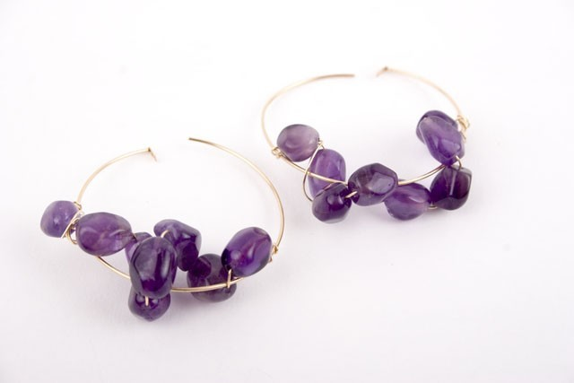 Amethyst Nugget Hoop Earrings