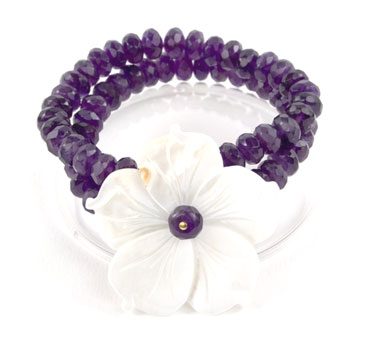 Amethyst Mother of Pearl Flower Bracelet