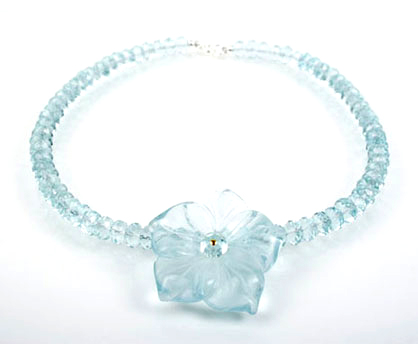 Aqua Quartz Flower Necklace
