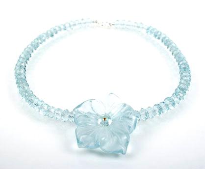Aqua Quartz Flower Necklace