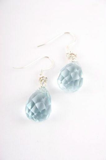 Aqua Quartz Teardrop Earrings