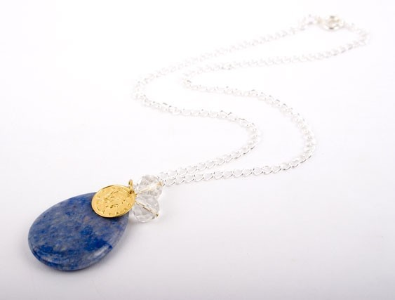 Blue Aventurine and Gold Charm Necklace