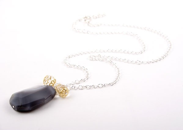 Black Botswana Agate Pendant Necklace