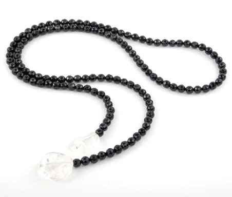 Black Oynx and Crystal Lariat Necklace