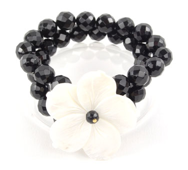 Black Oynx and Mother of Pearl Flower Bracelet