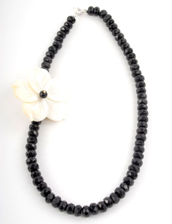 Black Oynx and Mother of Pearl Flower Necklace