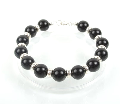 Black Oynx and Sterling Silver Bracelet