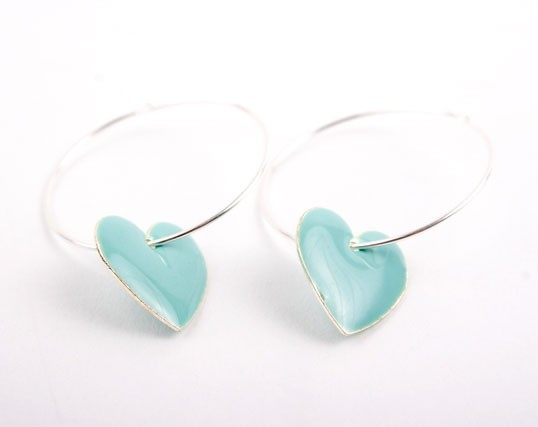 Blue Heart  Charm Hoop Earrings