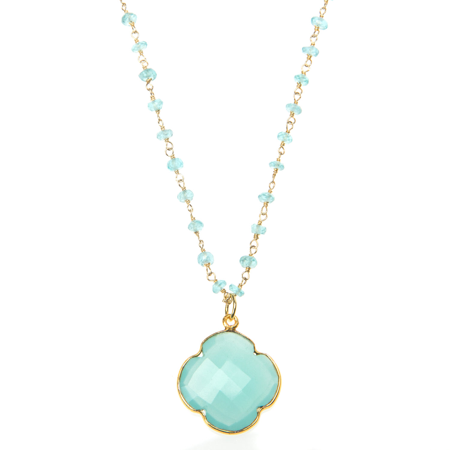 Aqua Blue Chalcedony and Apatite gemstone Pendant
