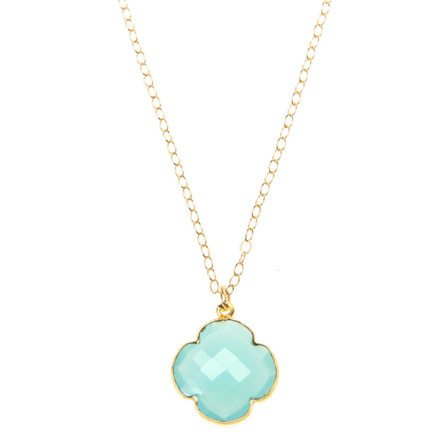 Aqua Blue Chalcedony and Gold Vermeil Necklace