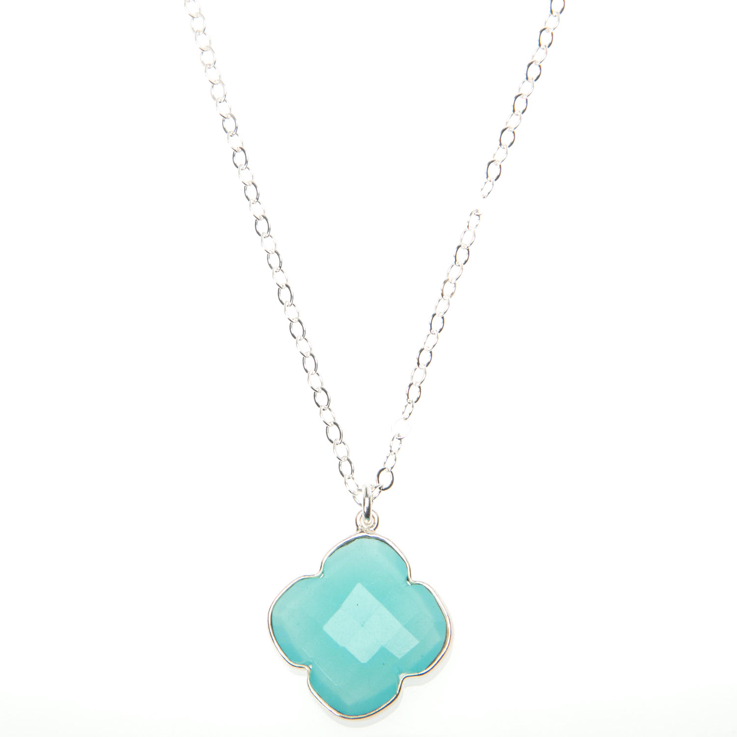 Aqua Blue Chalcedony and Sterling Silver Necklace