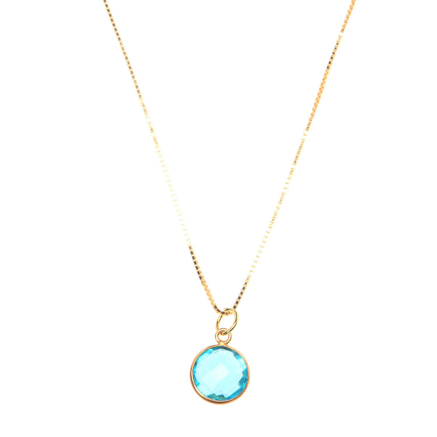 Blue Topaz Pendant on Gold Vermeil Chain