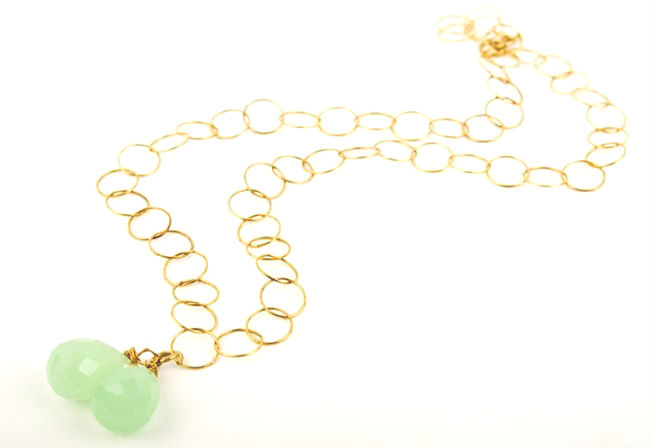 Green Chalcedony Gem Drop Necklace