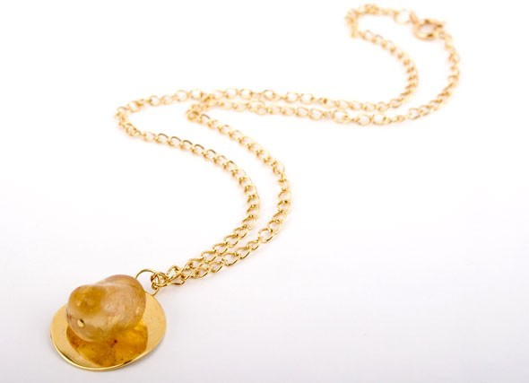 Citrine and Gold Disc Charm Necklace
