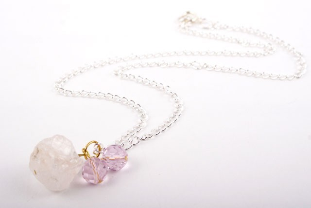 Crystal Quartz Nugget Pendant Necklace
