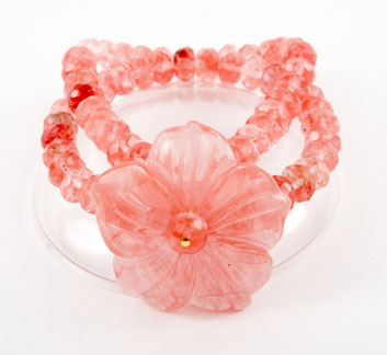 Cherry Quartz Flower Bracelet