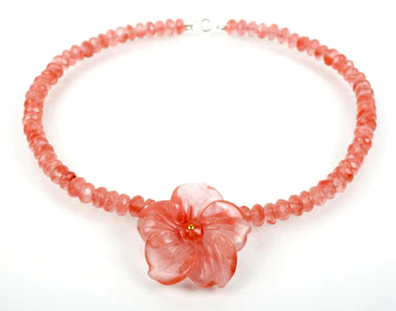 Cherry Quartz Flower Necklace