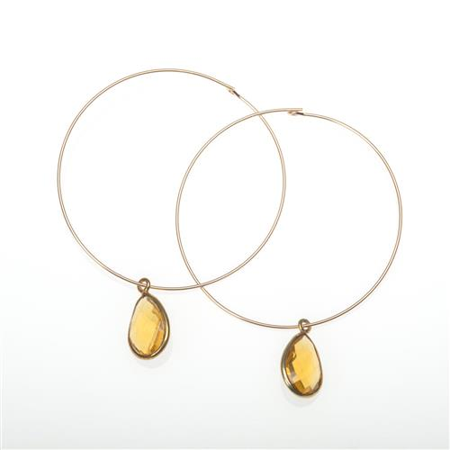 Gold Vermeil Citrine Drop Hoop Earrings