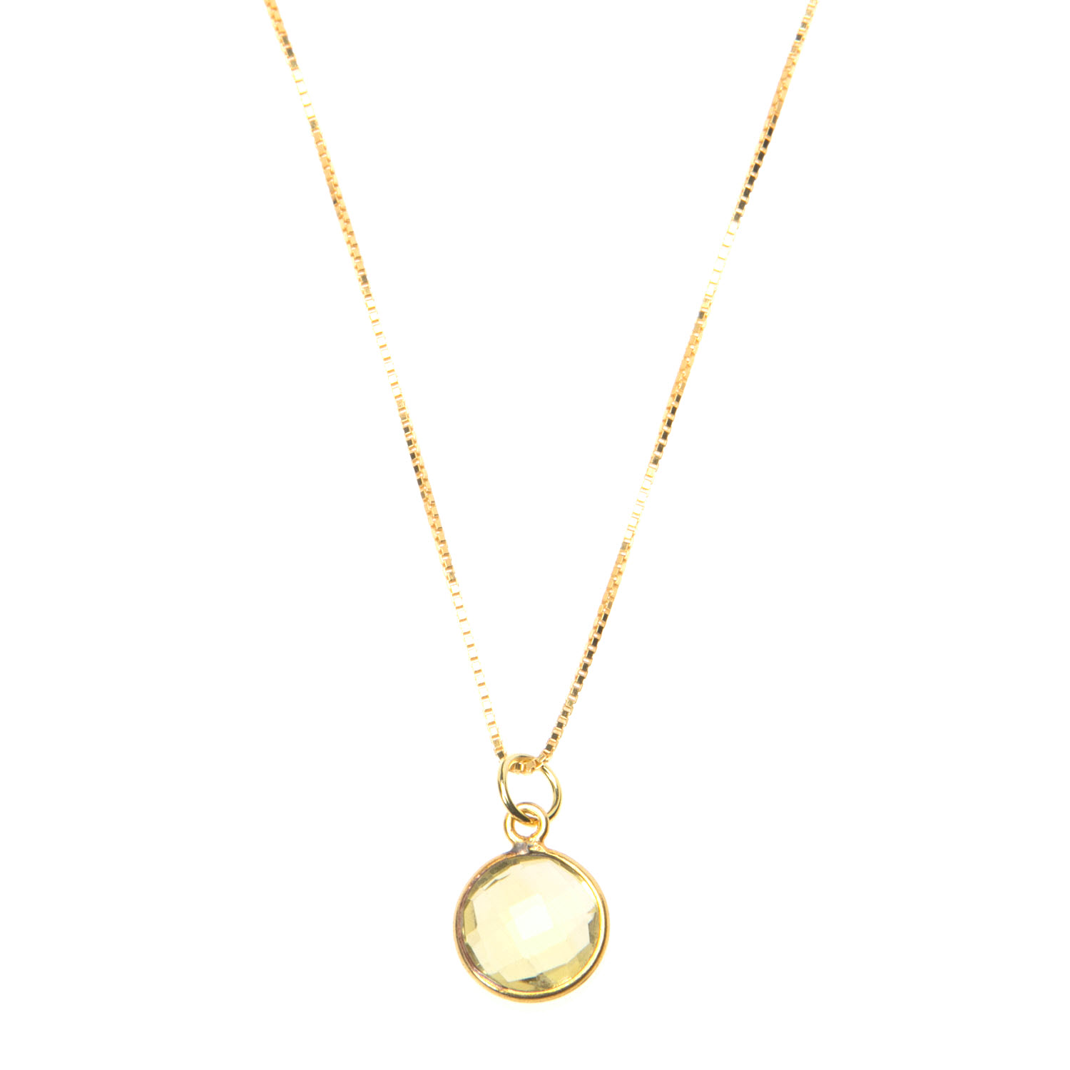 Lemon Citrine Pendant on Gold Vermeil Chain