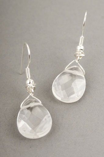Crystal Quartz Teardrop Earrings