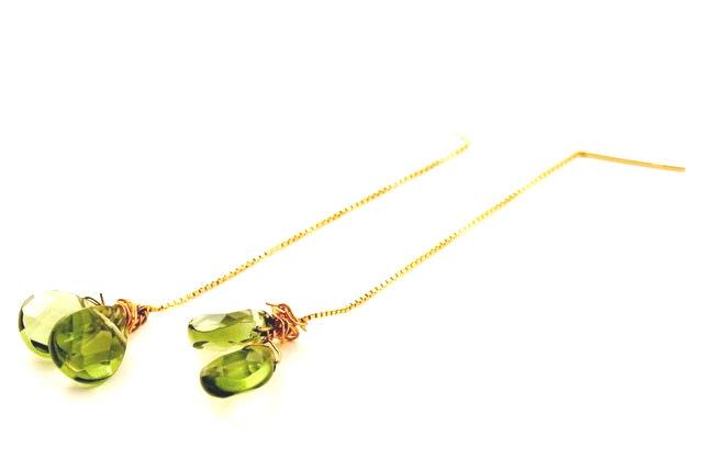 Emerald Quartz Gem Drop Earrings