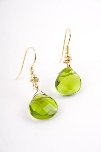 Emerald Quartz Teardrop Earrings