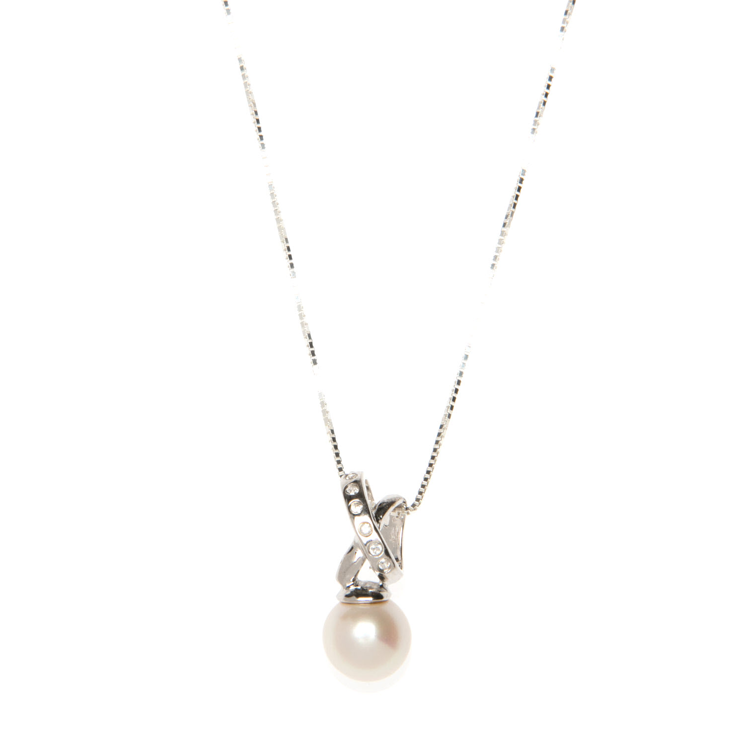 Sterling Silver White Freshwater Pearl Set Necklace