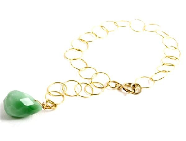 Apple Green Quartz Gem Drop Bracelet