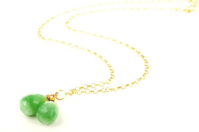 Apple Green Quartz Gem Drop Necklace