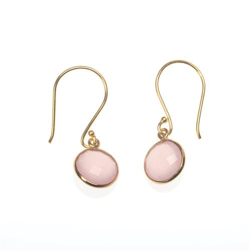 Rose Quartz Drop Gold Vermeil Earrings