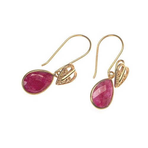 Gold Vermeil Ruby Heart Drop Earrings
