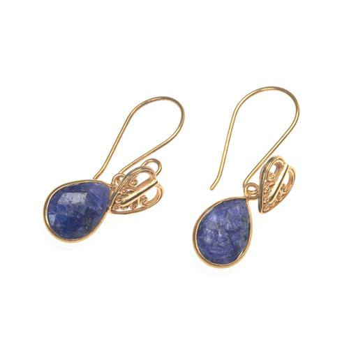 Gold Vermeil Blue Sapphire Heart Drop Earrings