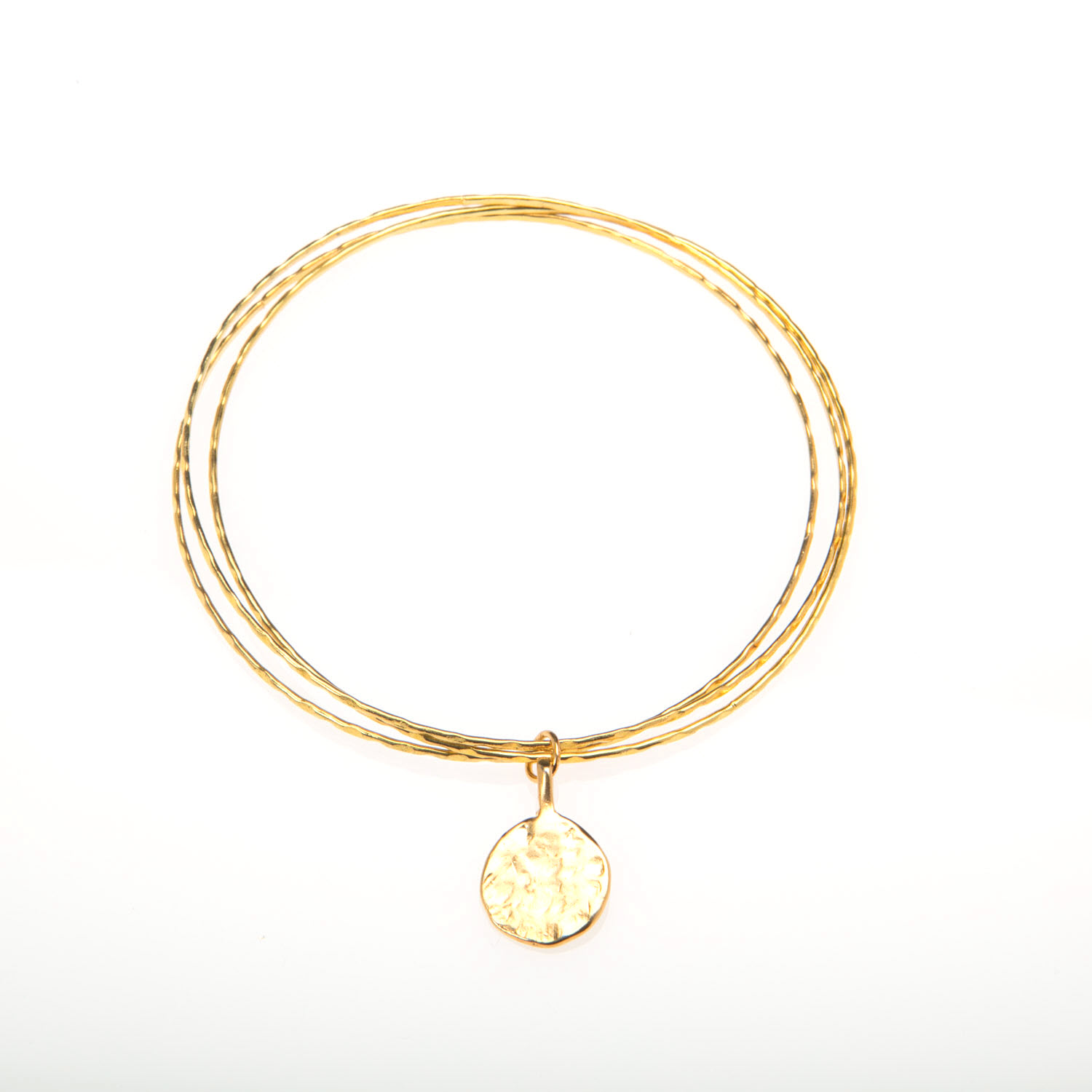 Gold Bangles Set with Hammered Gold Vermeil Disc Charm