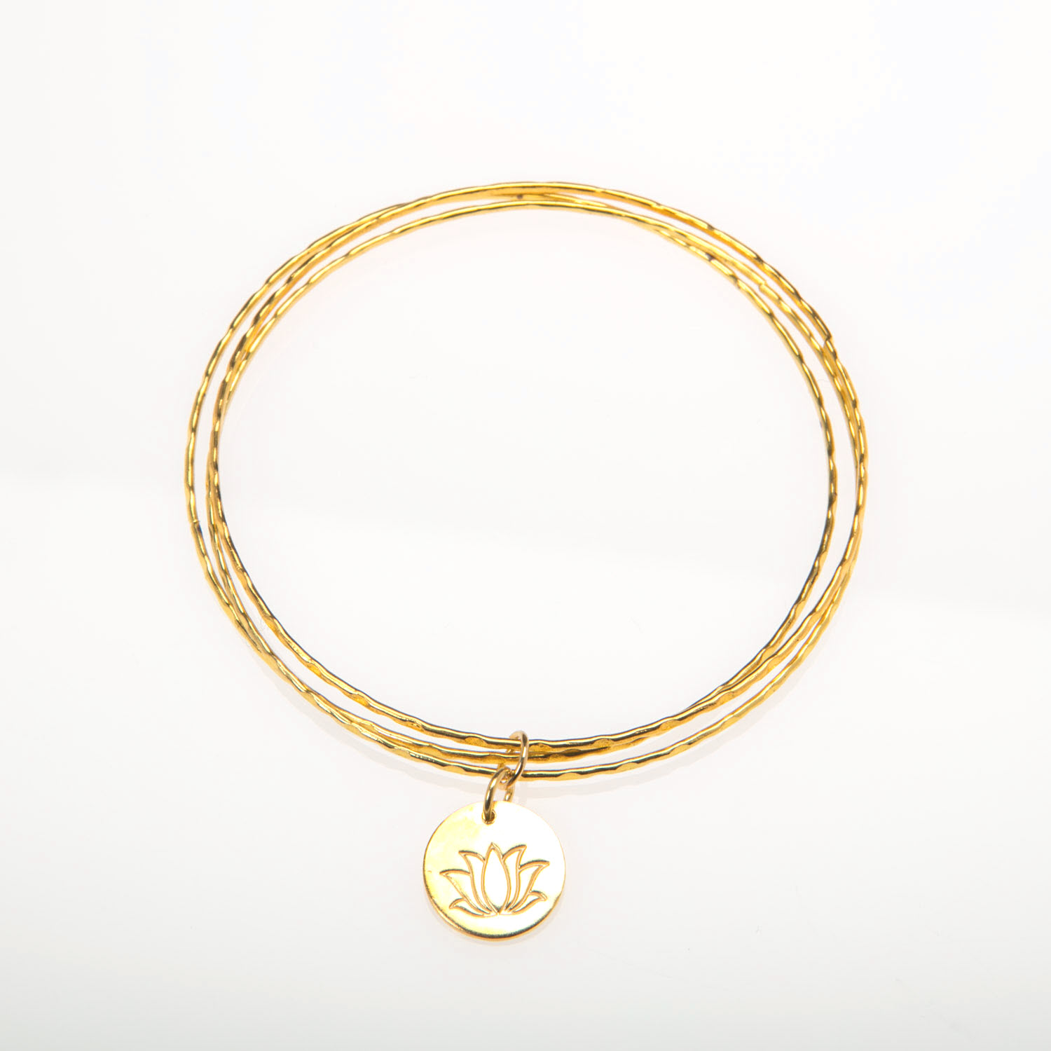 Gold Bangles with Lotus Flower Disc Charm