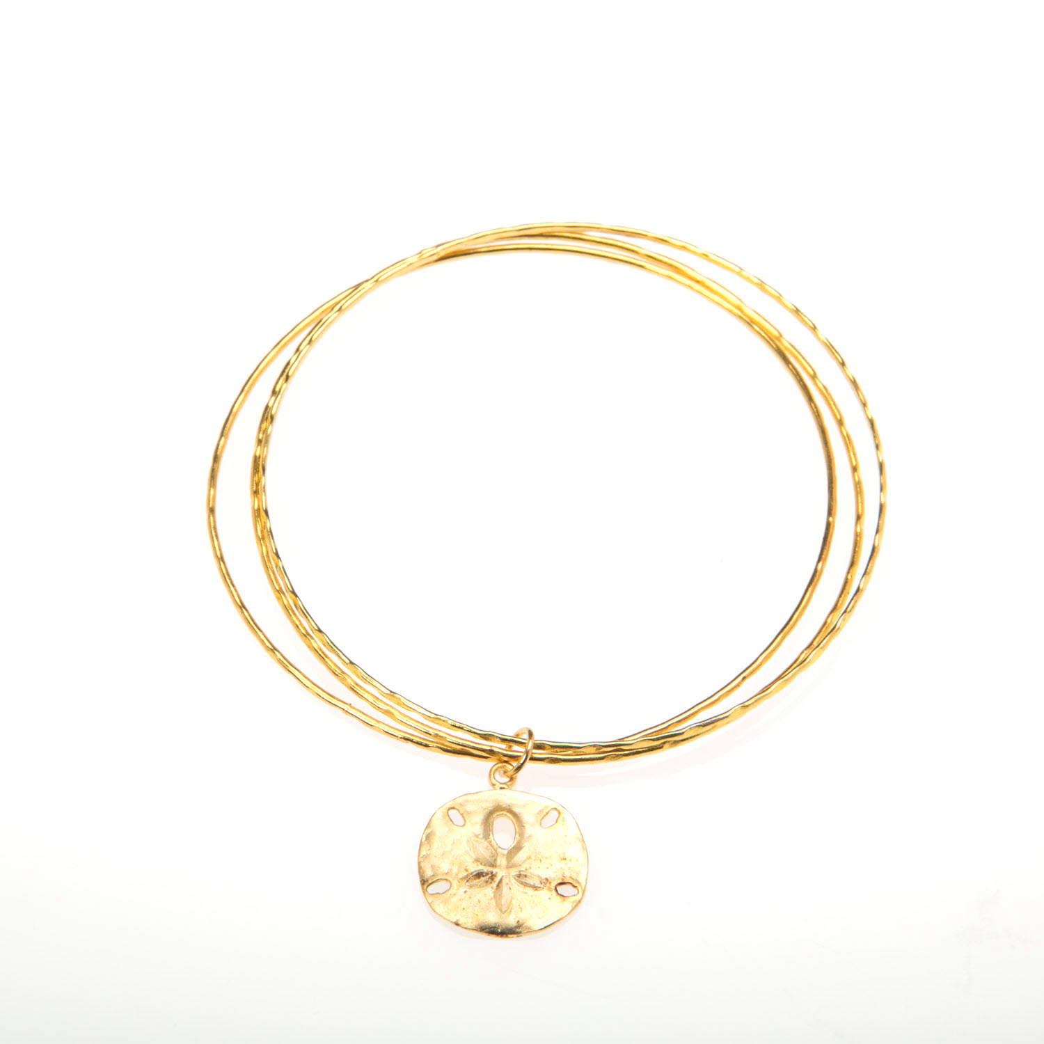 Gold Bangles with Gold Vermeil Sand Dollar Charm