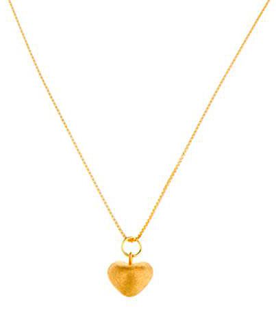 Brushed Gold Vermeil Heart Pendant Necklace
