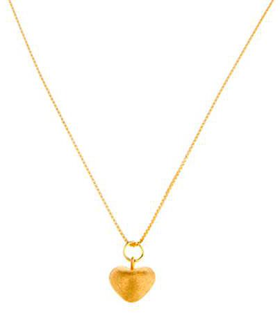 Brushed Gold Vermeil Heart Pendant Necklace