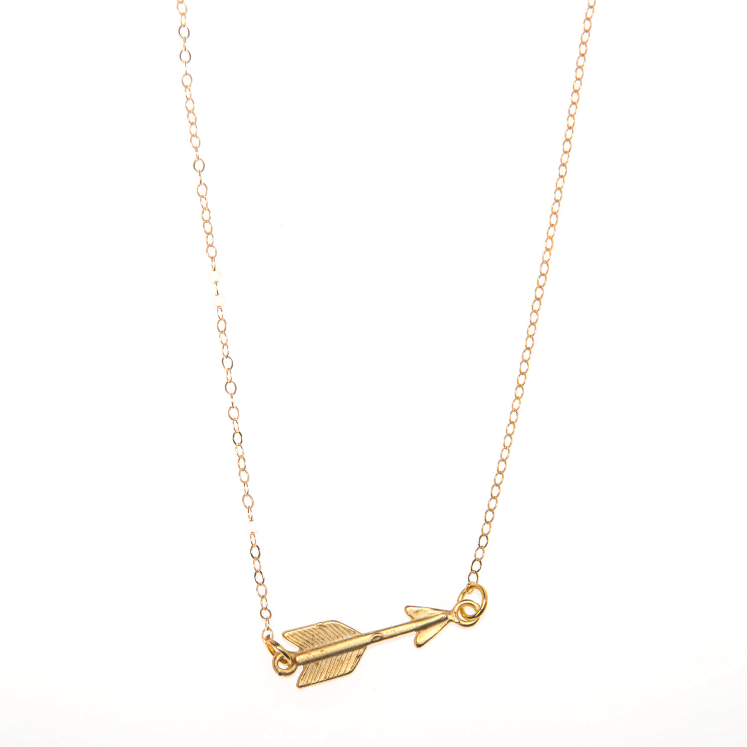 Gold Vermeil Arrow Charm Pendant Necklace