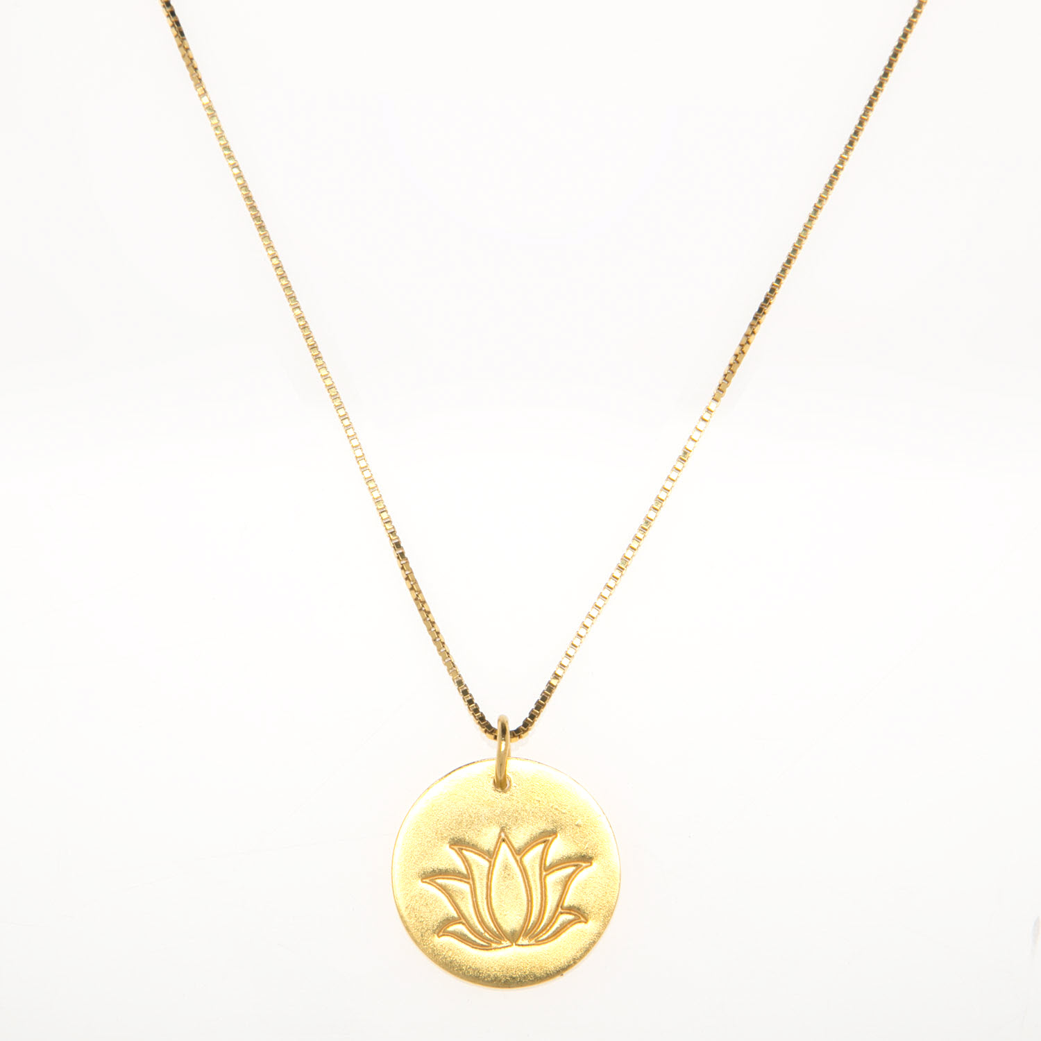 Gold Vermeil Lotus Flower Charm Necklace