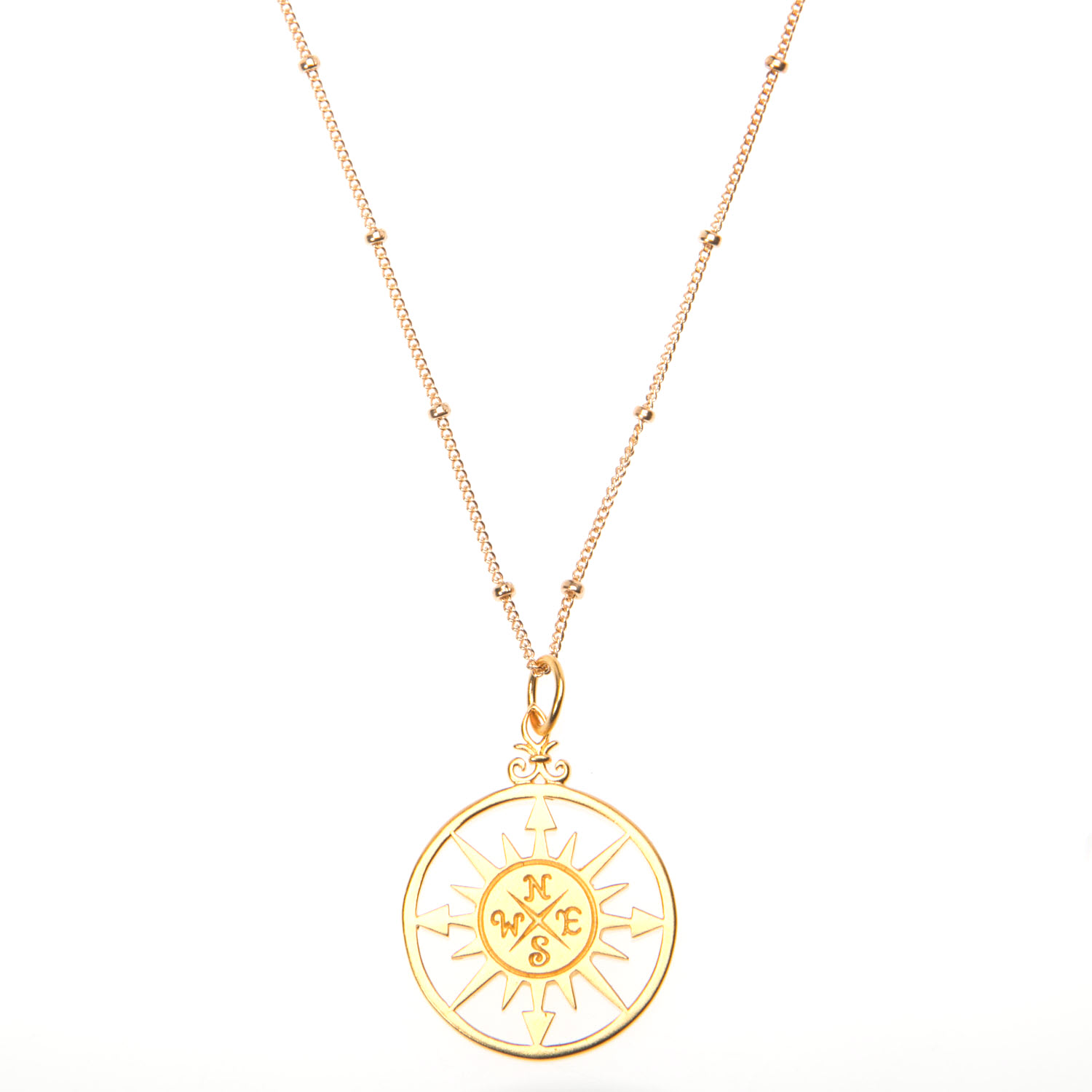 Gold Vermeil Compass Pendant Necklace