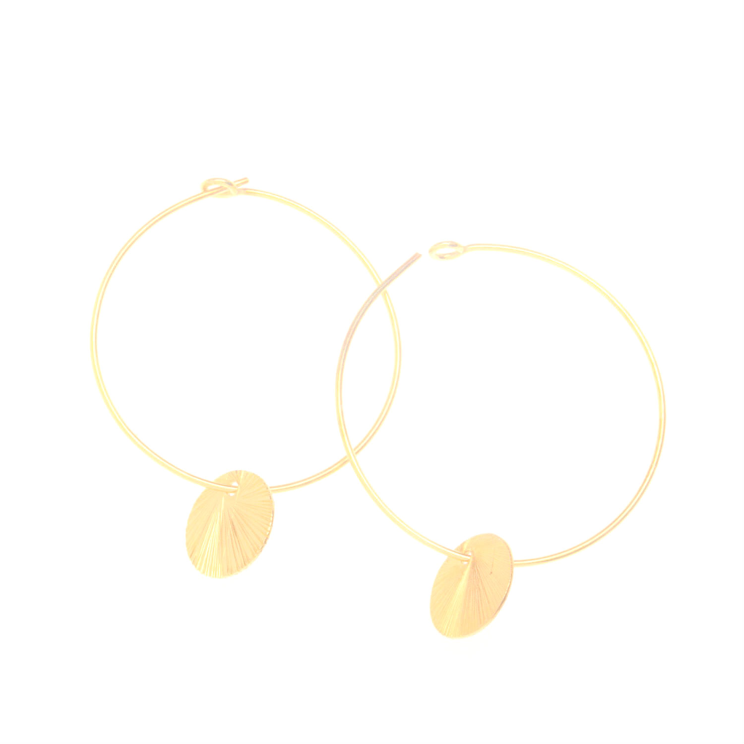 Gold Vermeil Disc Charm Hoop Earrings